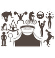 a set of flat silhouettes of circus artists vector image