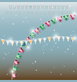 background of new year flags with star and vector image
