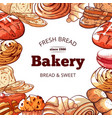 bakery products fresh and tasty bread background vector image
