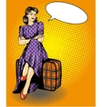 Beautiful woman sit on a bag vector image vector image