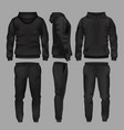 black man sportswear hoodie and trousers vector image vector image