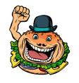 bowler hat fast food burger vector image vector image