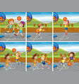 boys and girls playing basketball vector image vector image