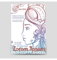 Brochure template with colorful woman face vector image vector image