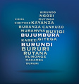 Burundi map made with name of cities vector image vector image
