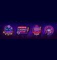 casino collection of neon signs design template vector image vector image
