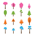 Collection of trees icons set Seasons theme winter vector image
