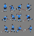 colored hockey player set 2 vector image vector image