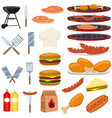 colorful cartoon bbq outdoors 23 element set vector image