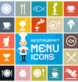 Colorful Flat Design Restaurant Menu Icons Set vector image vector image