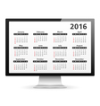 Computer with 2016 Calendar vector image vector image