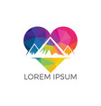 creative mountain and love logo design vector image