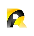 Creative yellow and black symbol letter R for your vector image