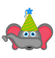 cute elephant with a party hat avatar vector image vector image