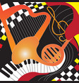 design poster with musical instruments and chess vector image
