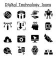 digital data technology icon set vector image vector image