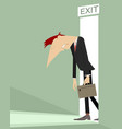exit and sad man concept vector image vector image