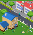 family outdoor isometric composition vector image