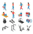 fitness health isometric icons set vector image