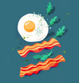 fried egg and bacon arugula breakfast vector image