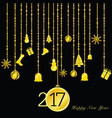 happy new year 2017 gold on black vector image vector image
