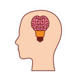 human face silhouette with brain in shape bulb on vector image vector image