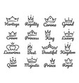 majestic crown logo sketch prince and princess vector image