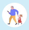 man using cellphone while walking with little vector image vector image