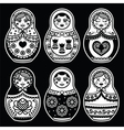 Matryoshka Russian doll white icons set on black vector image