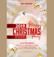 merry christmas party poster or flyer with xmas vector image