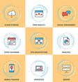 Modern Line Icons Set Cloud Storage Social vector image
