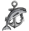 monochromatic dolphin around an anchor with a rope vector image vector image