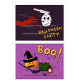 pumpkin witch and mummy devil on halloween party b vector image vector image