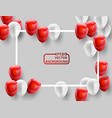 red white balloons concept design background vector image vector image