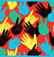 seamless pattern of colorful stylized hands vector image vector image
