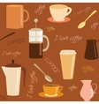 Seamless pattern with coffee related elements vector image vector image