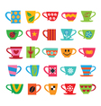 Set of colorful cups vector image vector image
