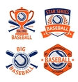 set old style baseball labels with ball and vector image