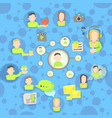 social network circles concept cartoon style vector image