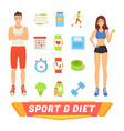 sport and diet people icons vector image vector image