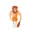 stone age prehistoric man with cudgel primitive vector image