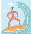 surfer woman in the wave vector image