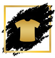 t-shirt sign golden icon at black spot vector image vector image