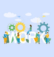 team work with business people stand near the lett vector image vector image