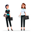 two cheerful women with black suitcases and cards vector image