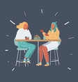 two young women having lunch vector image vector image