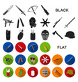 types of weapons flat icons in set collection for vector image vector image