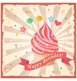 vintage banner with cake candy and ribbon vector image