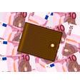 wallet on ten euro background vector image vector image