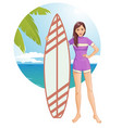 young beautiful woman in swimsuit with surfboard vector image